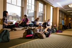 Bright, comfortable window seats in the Middle and Upper School buildings provide the perfect setting for quiet reading or conversation. They are also favorite meeting spots for groups of girls throughout the course of the day.