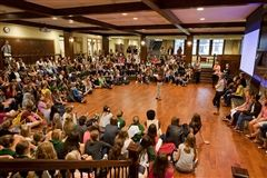 While each year, more than half of our Upper School students take on formal leadership positions within the school, every student learns to be a leader in her own way. Some girls lead class discussions, others speak publicly at Morning Meeting, at school events, or at conferences and competitions.