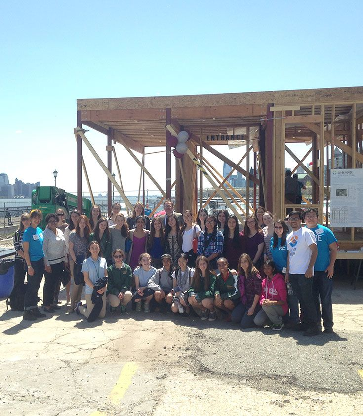 US students spend the day at Stevens Innovation Expo and tour the SU+RE house learning about sustainable building.