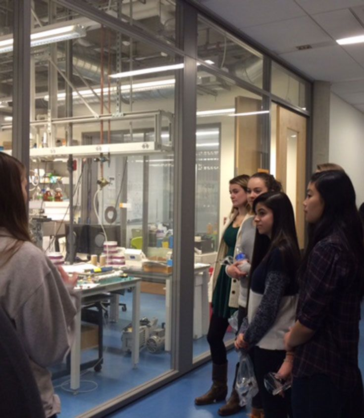 GEMS (Girls Eliminating Math Stereotypes) members spend the day at the Princeton Chemistry Lab with members of the Princeton group, Female Researchers in Chemistry (FRIC).