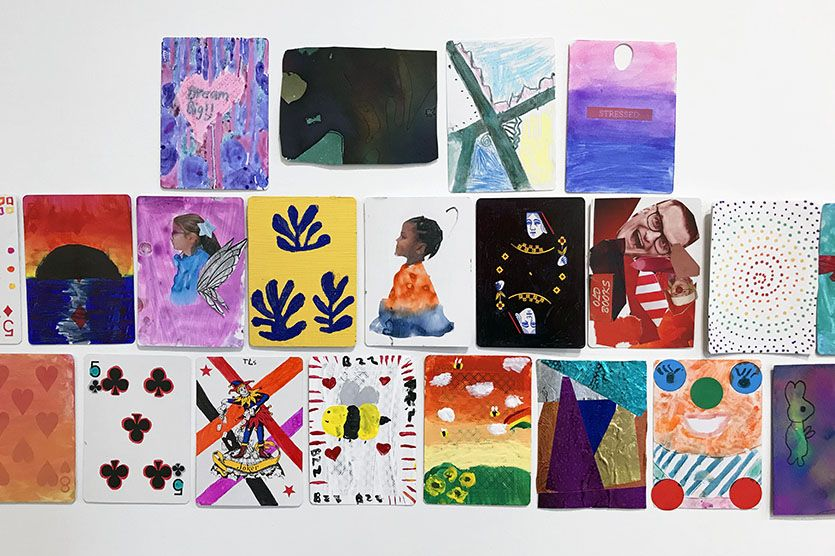 The Kent Place School community came together in this show. Primary, Middle, and Upper School students are represented, as well as faculty, administrators, and staff. The prompt was simple: Do art on the front or back of a standard playing card. Draw on it, paint on it, glue a collage to it, put a photo on it, write a poem (or a short novel) on it. Any creative thing you want! Then put first and last name on the back and return to the Gallery Director by Winter Break — the end result was a flood of creativity!