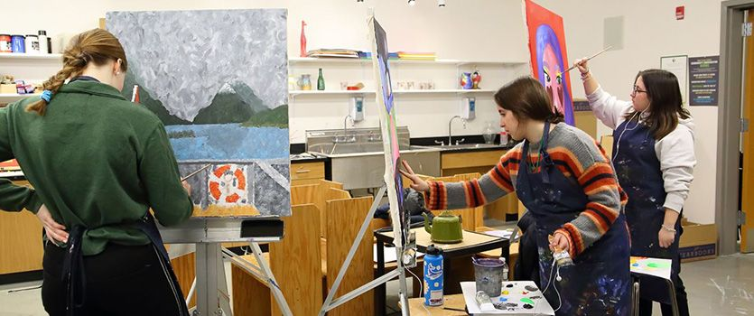 Arts classrooms boast a range of materials and spaces for visual artists.