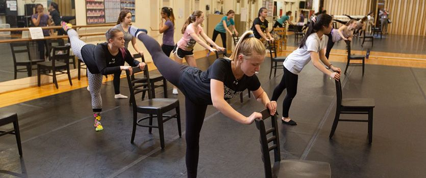 Several dance ensembles use the dance studio for class and practice.