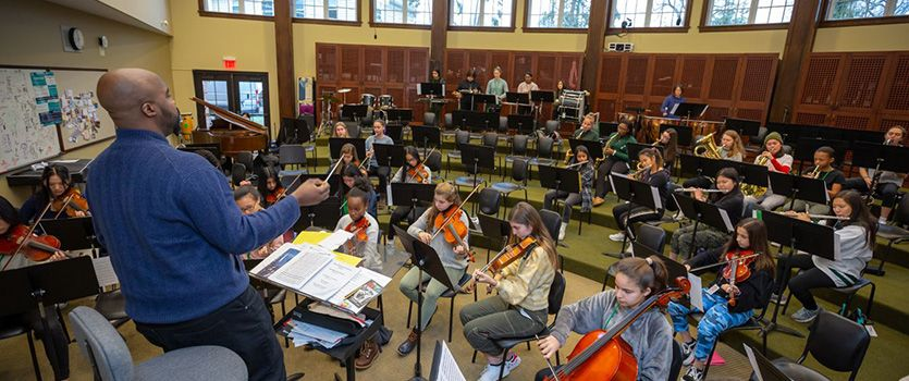 Instrumentalists can practice together in the orchestra classroom.