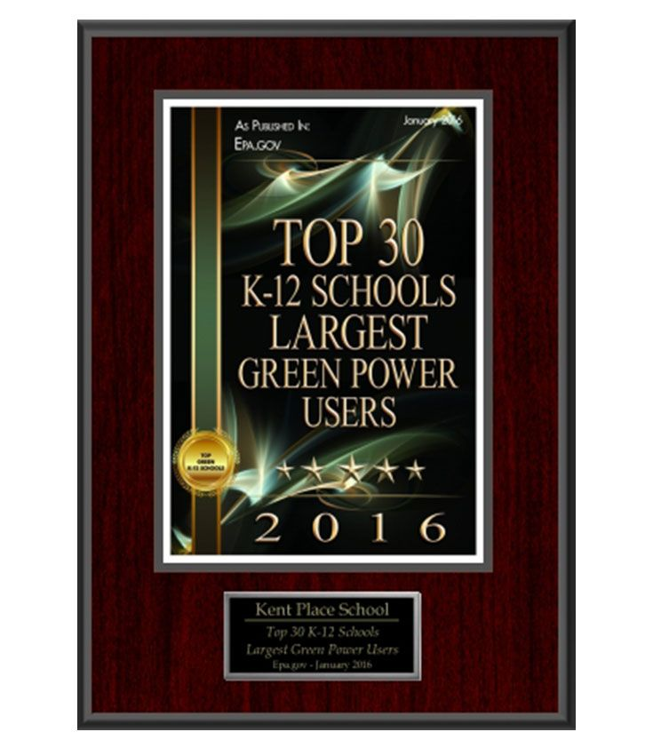 Kent Place has again been recognized by the EPA as one of the top 30 Green Power Users among K-12 schools nationwide.