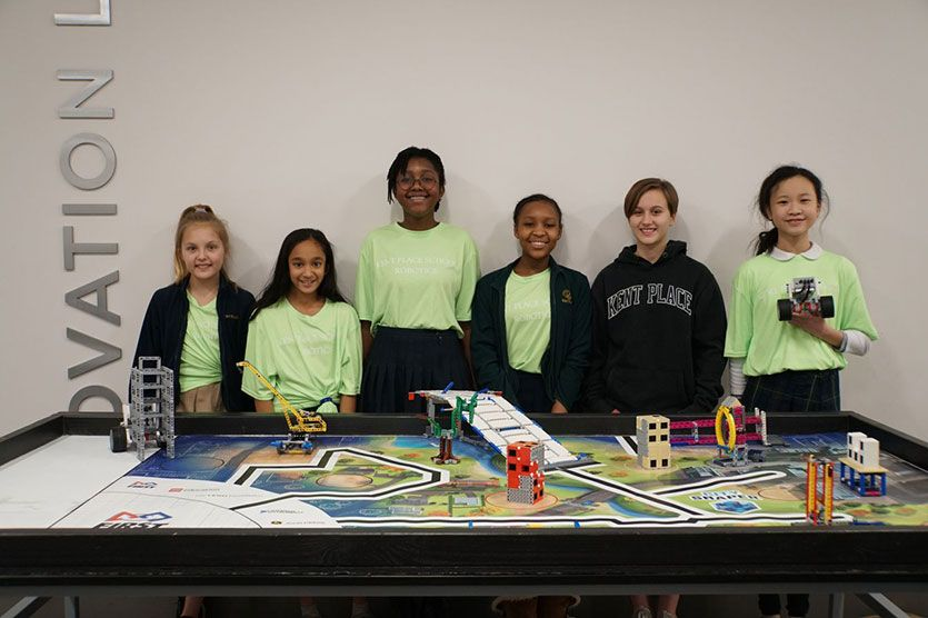 The Middle School robotics team competes in the First Lego League.