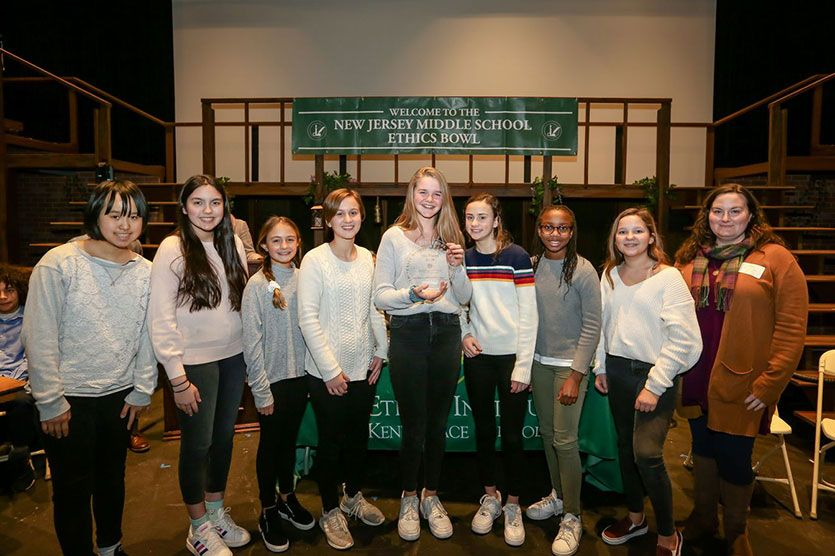 The Middle School Ethics Bowl team was named the 2020 NJ champions.