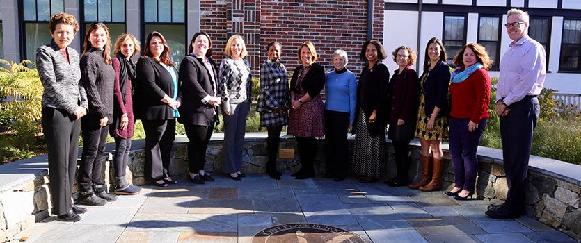 Dr. Karen Rezach (Director of the Ethics Institute); Bobbi Moran (Director of Athletics); Elizabeth Woodall P '08 '18 '23 (Director of the Upper School); Kim Pearson (Director of Technology); Coral Butler Brooks (Director of Advancement); Julia Wall P '23 '27 (Director of Admission & Financial Aid); Dr. Adunni Anderson (Director of the Primary School); Dr. Jennifer Galambos (Head of School); Jane Phillips (Interim Director of the Middle School); Walidah Justice P '32 (Director of Diversity and Inclusion); Julie Gentile (Director of Studies); Rachel Naggar P '25 (Director of Communications); Genevieve Madigan (Chief Financial Officer); and Dave Carty (Director of Strategic Initiatives)
