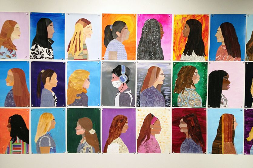 The 2019 Middle School Art Show is a collection of a year of art making and exploration by the 6th, 7th, and 8th graders. Students explored techniques such as perspective drawing, shading, and color mixing. Also, students focused on the subject matter of portraits, geometric abstraction, and color theory to name a few.