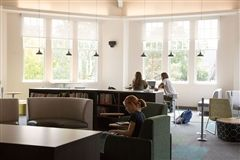 Middle and Upper School girls share a library that features online catalogs, research databases and an outstanding collection of fiction, non-fiction, and periodicals. A bright and open study space makes this a popular destination.