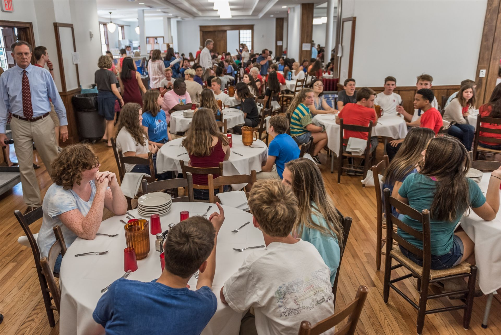 Middle and Upper School students enjoy lunch in the Coleman Family Dining Room