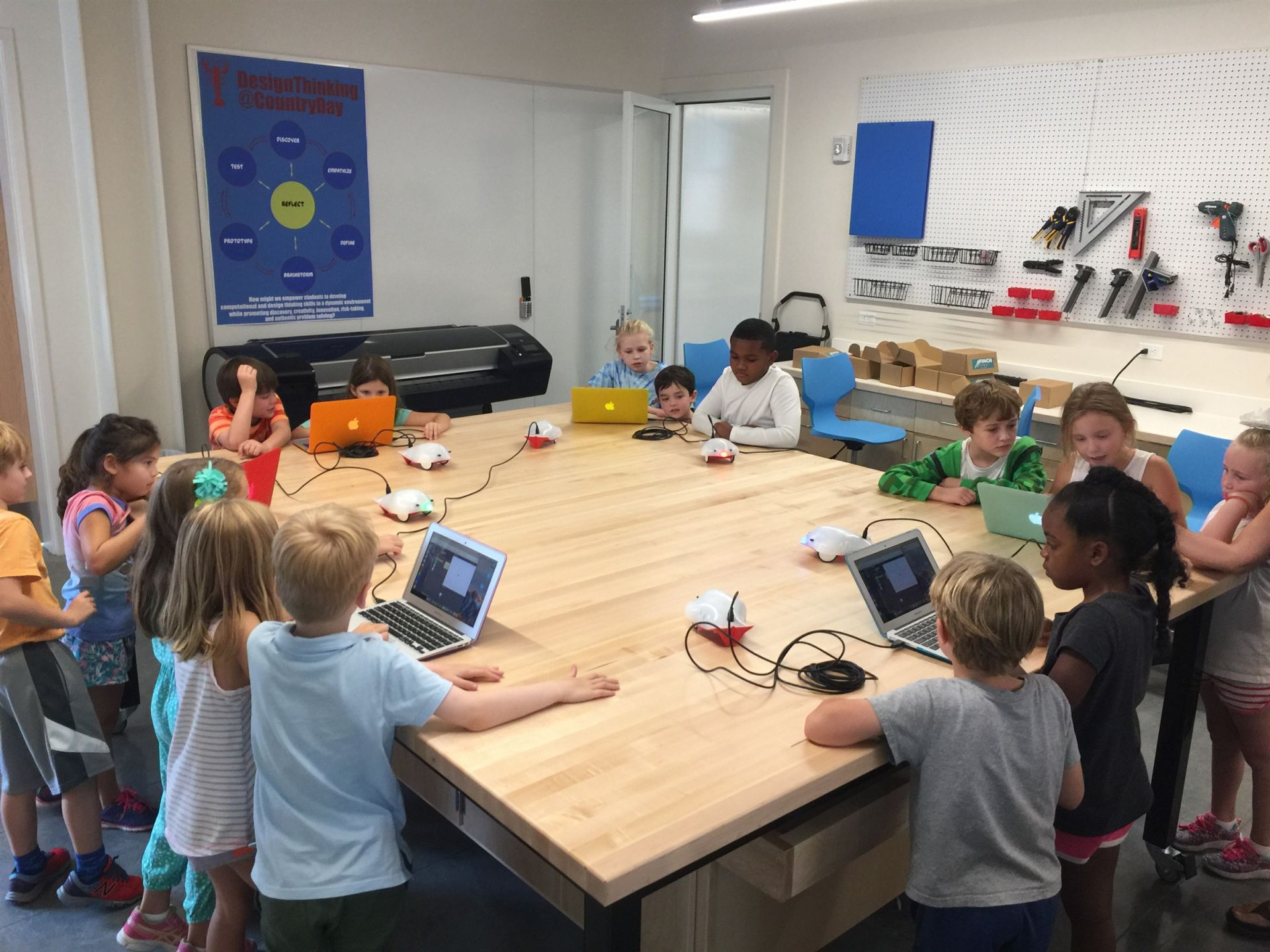 Lower School students working with Finch Robots in the Lydia Sneed Engineering Lab