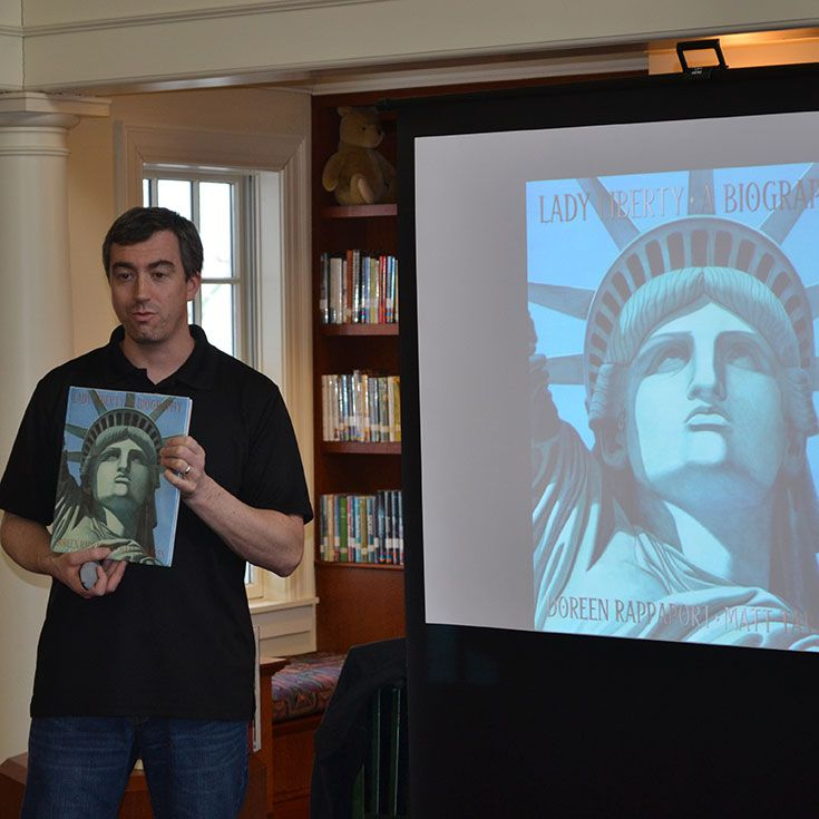 Author and illustrator Matt Tavares spent the day at Tenacre in April 2014, giving presentations to every student in the school. He has been honored with numerous awards for his books, whose topics include baseball, John F. Kennedy, Helen Keller, and the Statue of Liberty.