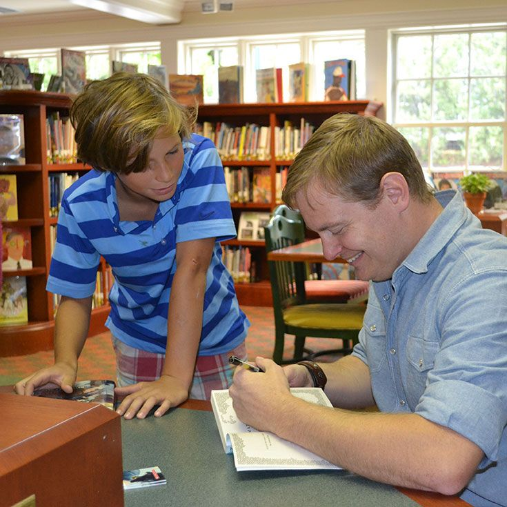 Young adult author Matthew Kirby visited Tenacre in September, 2013, and spoke to sixth graders. He won the 2012 Edgar Award for Juvenile Fiction (best mystery of the year) for