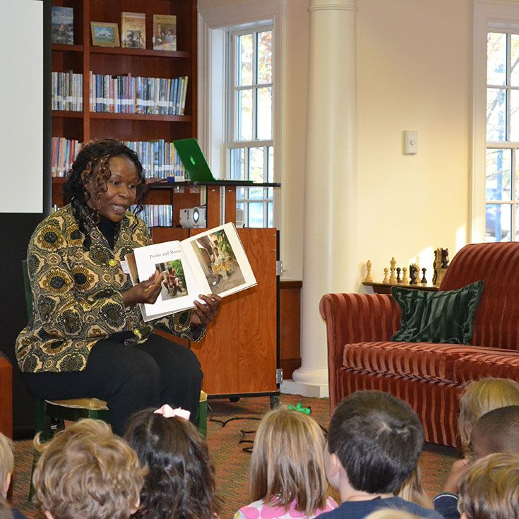 Nigerian children's author Ifeoma Onyelulu visited Tenacre in October, 2013, and spoke to students from Pre-Kindergarten through Grade 3.