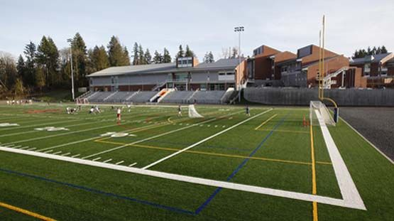 The Eastside Catholic athletic stadium hosts sports teams year-round for competitions and practices.