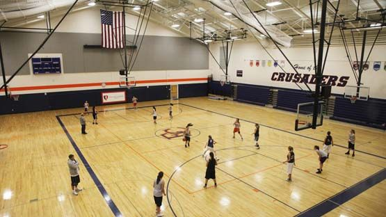 The gymnasium hosts PE classes, assemblies and sporting events.