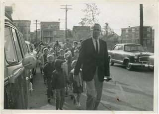 First Head of School Tom Waring leading the parade to break ground at 5 Cadbury Road