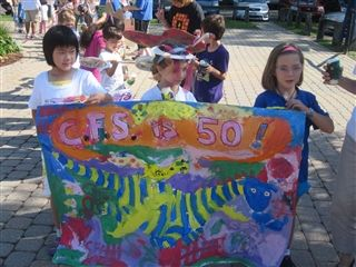 CFS pre-K, K, and Grade 1 students lead their own parade 30 September 2011