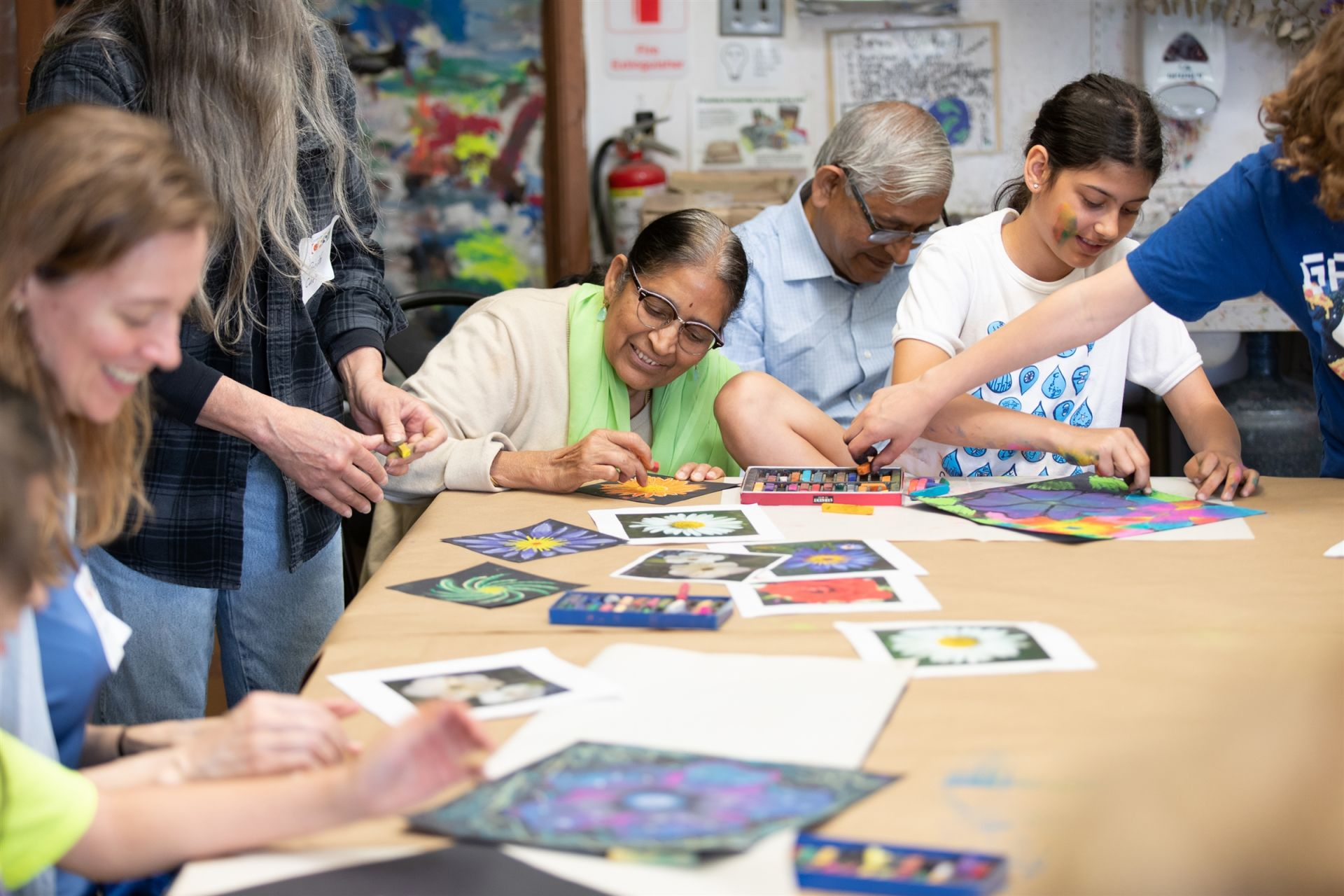 A group of significant elders joins in on 3/4 art class.