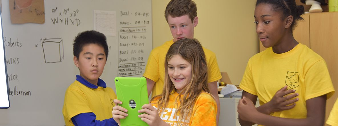 Upper School Students Recording a Video on the iPad