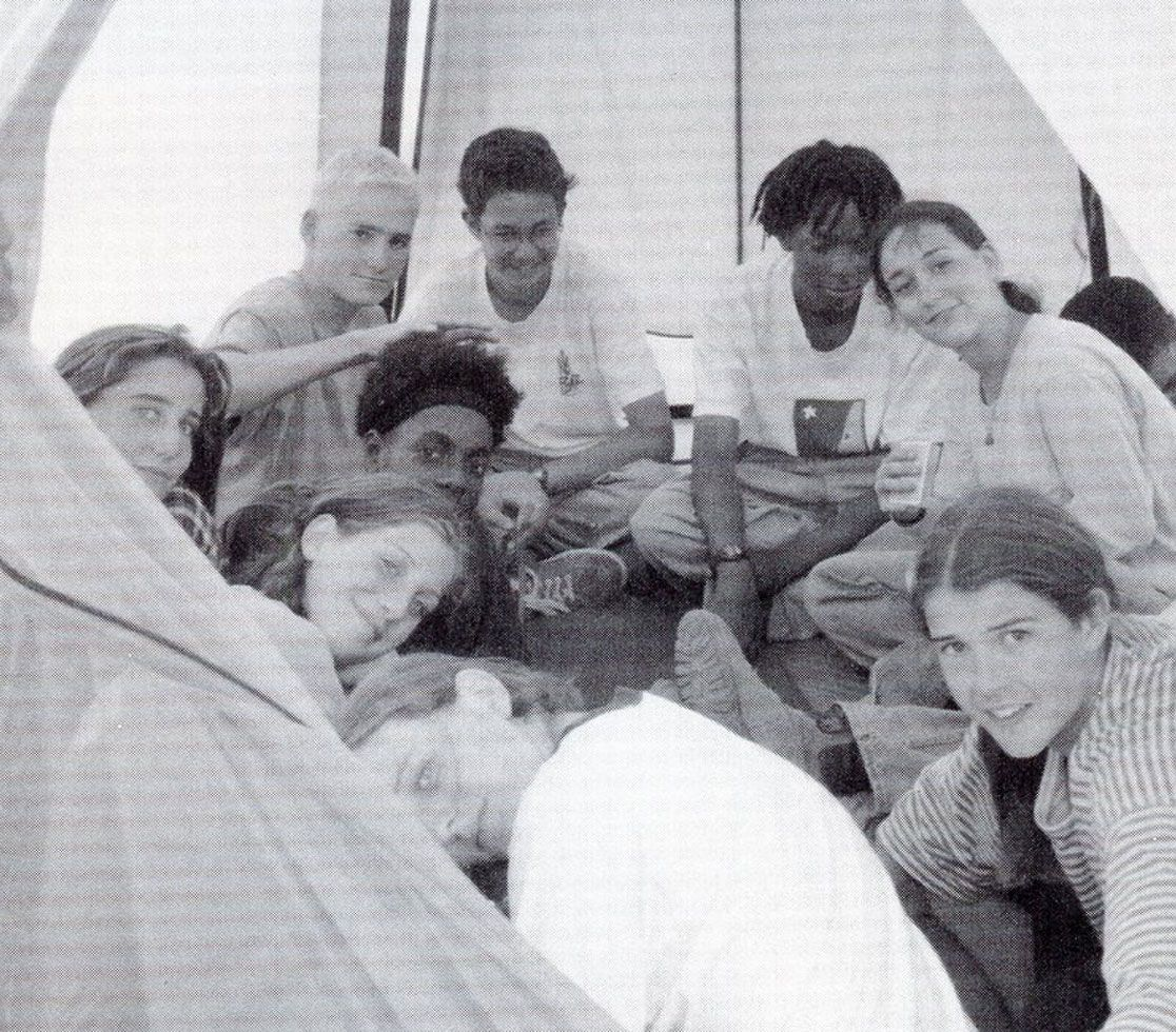 Crowded into a tent back in 1995.