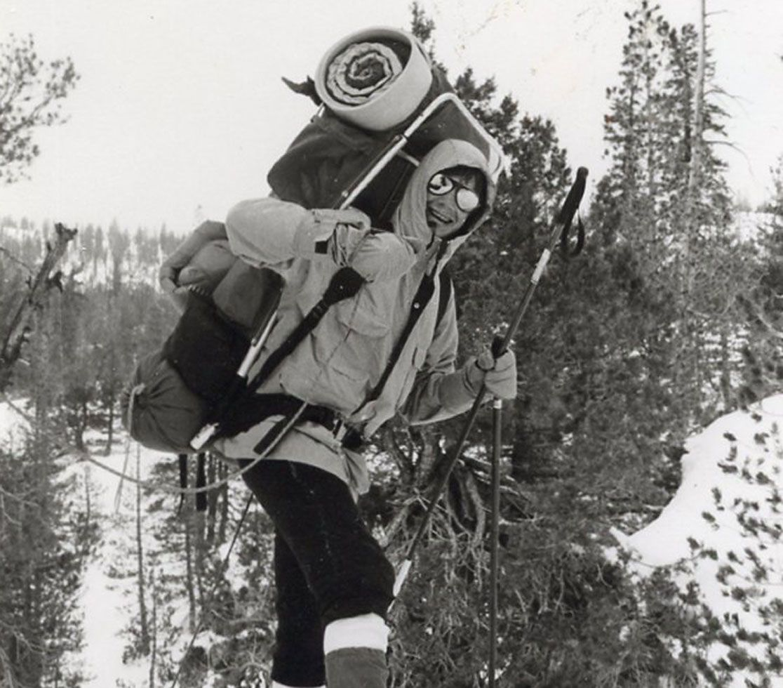 One hiker braves the elements in 1979.