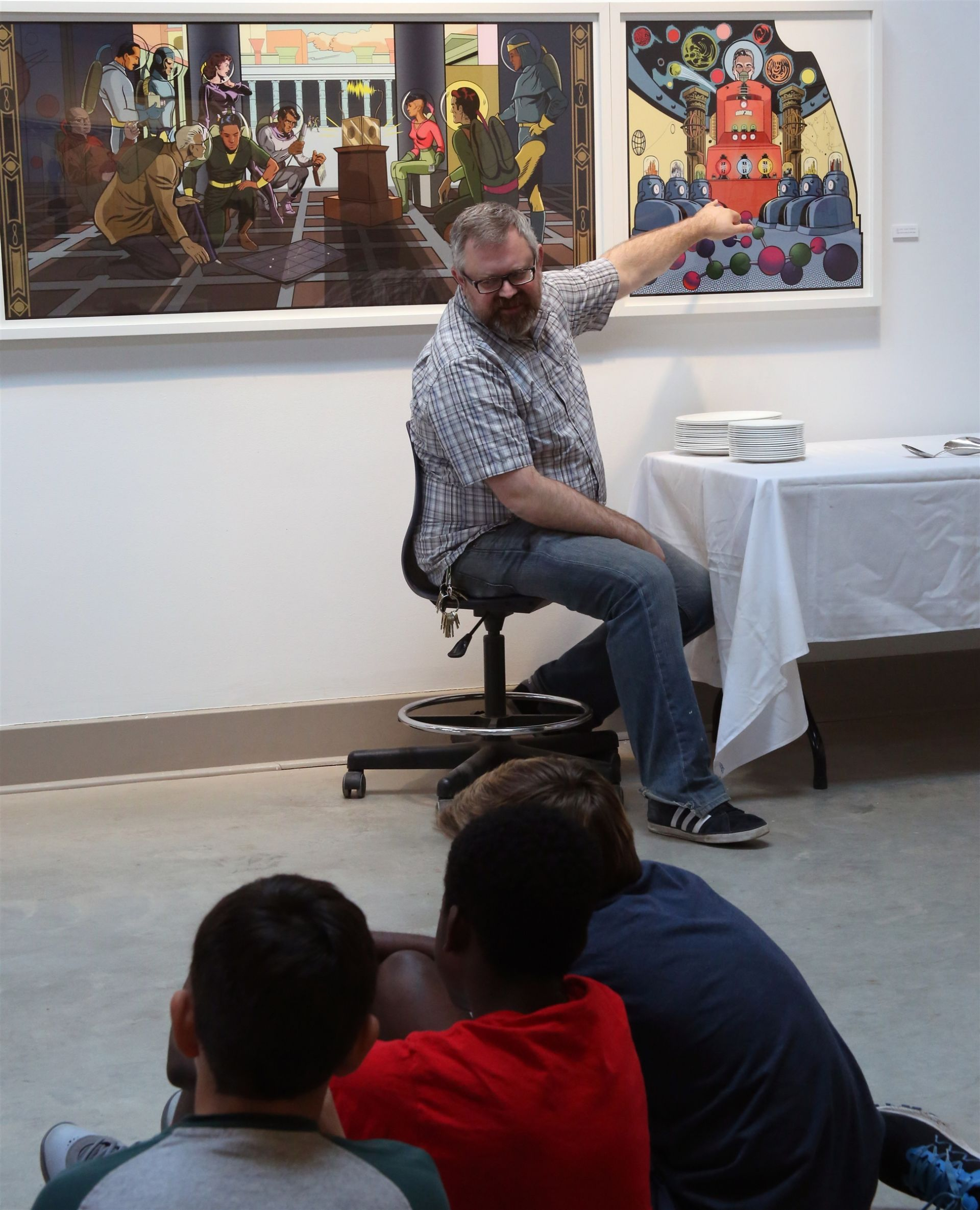 The 1957 Artist in Residence Fund supported a visit and workshop for students with artist Matthew Borgen.