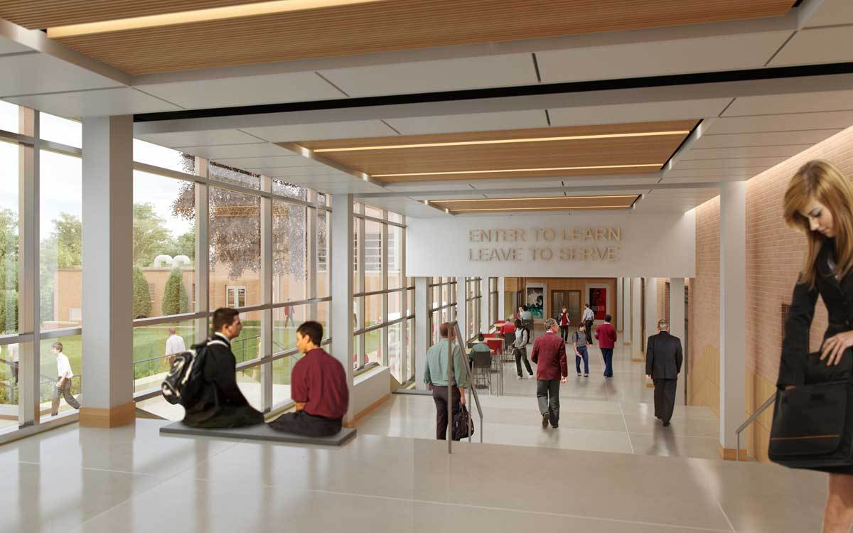 The glass-enclosed student walk