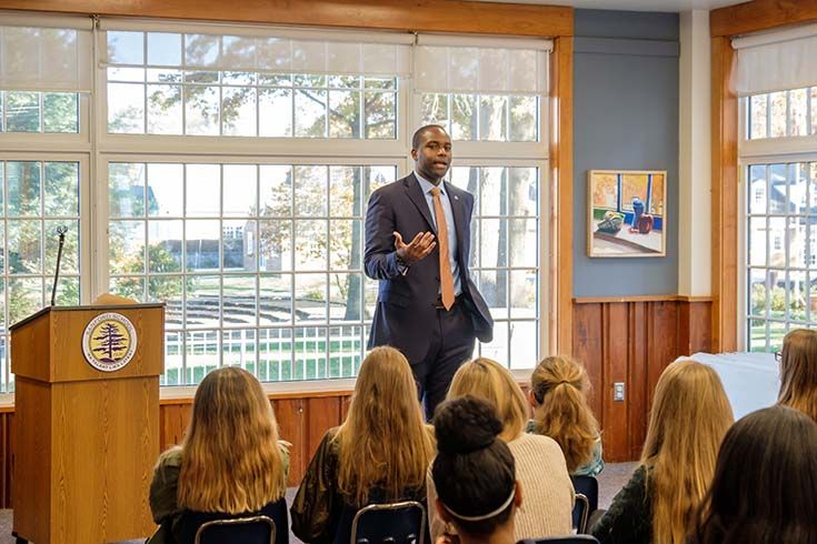 Eugene Young, formerly with the Delaware Center for Justice, spoke to our eighth graders about the criminal justice system. Using students' knowledge of To Kill a Mockingbird, he connected the importance of understanding social injustice.