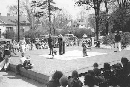 A play being performed outside on the Dedham Common in 1939.