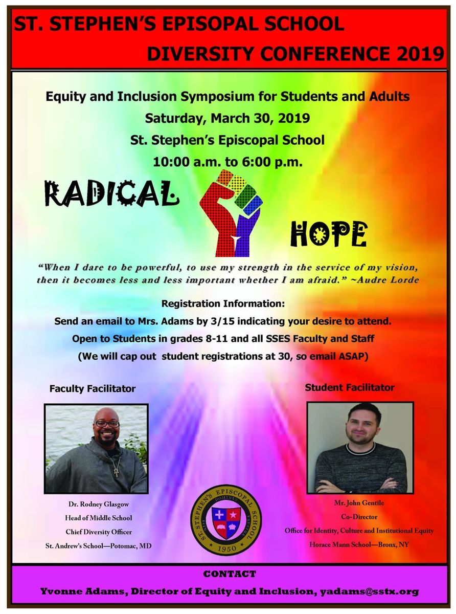 St. Stephen's Radical Hope Diversity and Inclusion Conference poster