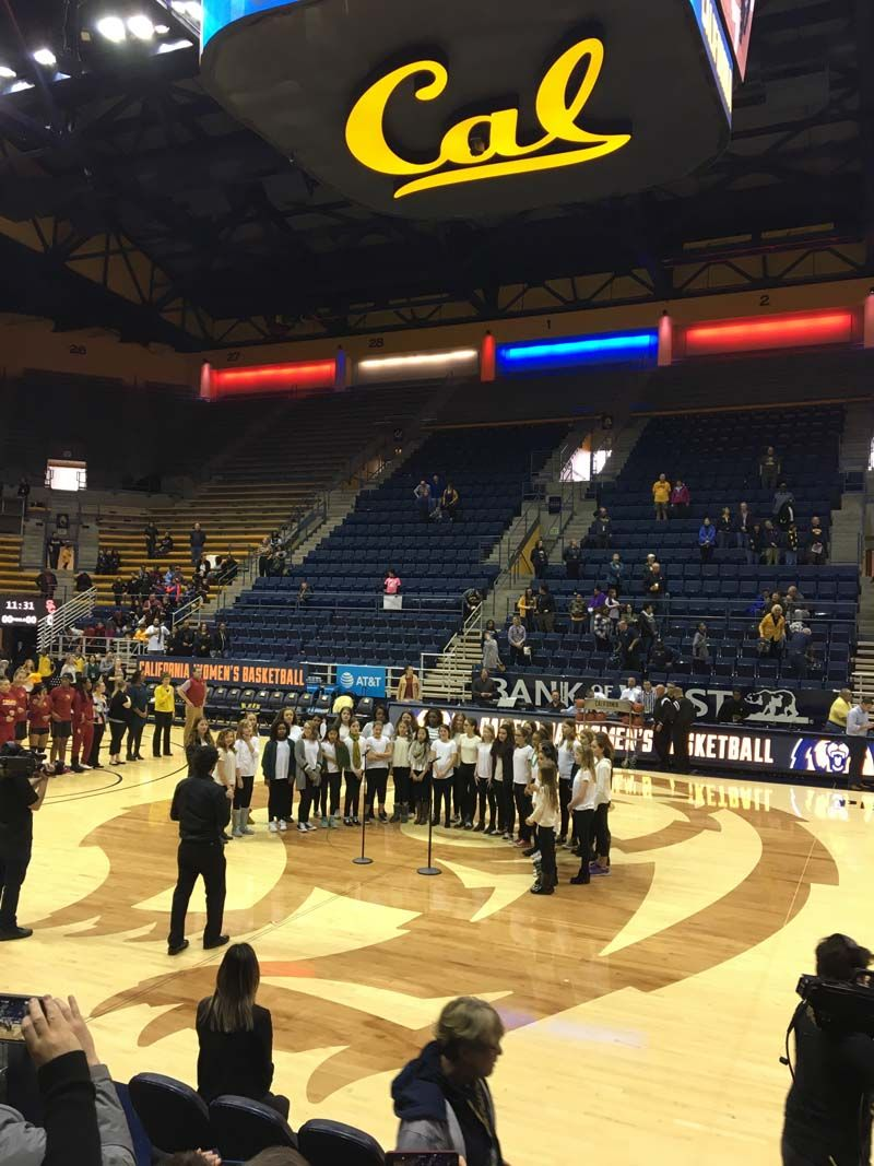Photos from Band and Chorus' performance at the weekend Cal Women's Basketball games.