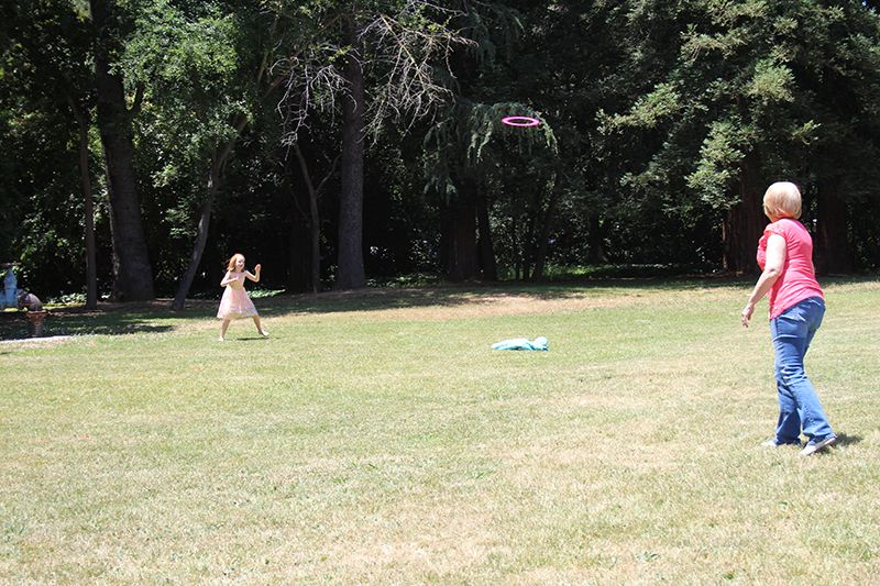 Frisbee throwing on the side lawn.