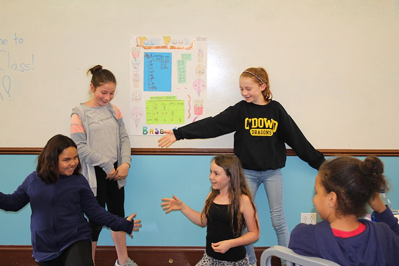 In connection with their studies of ancient civilizations and the invention of zero, the girls created their own number systems in groups including using a new base number and designing original numerals. They presented their new number systems in math class.