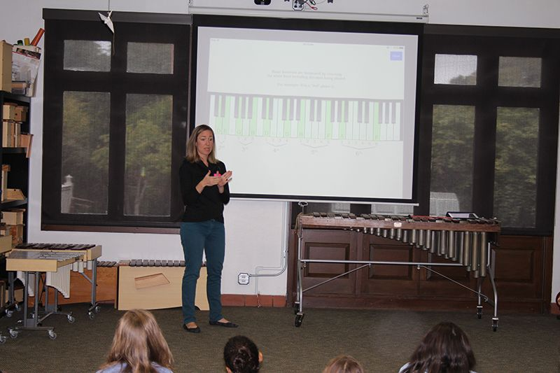 Elyse Weekly, creator of the iPad app Strike a Chord, came to demo her app with the 6th graders. They learned keyboard note names, thirds, triads, and got to compose their own chord progressions!
