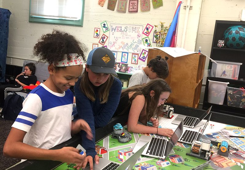 Aquaducks team gets ready for the First Lego League competition on 11/5. Girls use the engineering design process by build, program, then revise a Lego robot to complete various tasks.