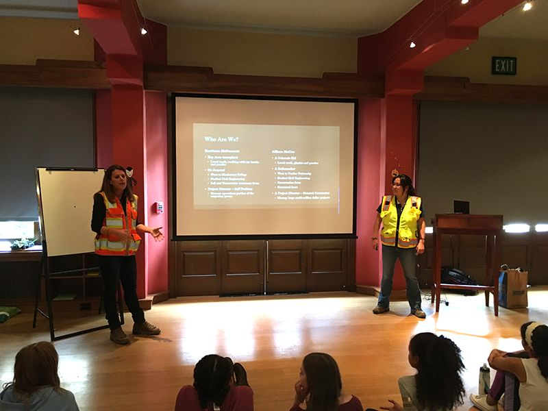 Project Directors Kerriann McDermott and Allison Bernard from Webcor Builders present a special presentation for the 6th Grade STEAM class.