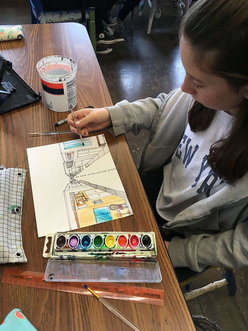 In 6th grade Art class, students learn about vanishing point, or point of convergence, a key element in many works of art.