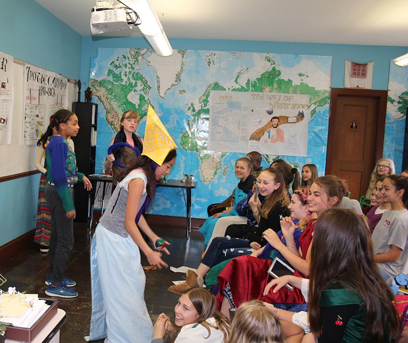 Students perform skits for their 7th grade Renaissance Faire.