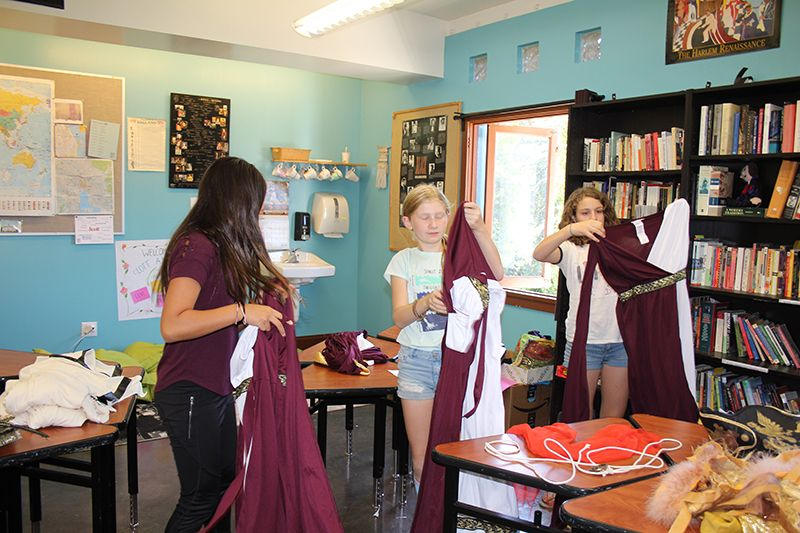 In 7th grade History, students wrote, produced and acted in their own original play titled The Fall of Rome in Three Acts.   They performed their play, in full costumes, for each other.