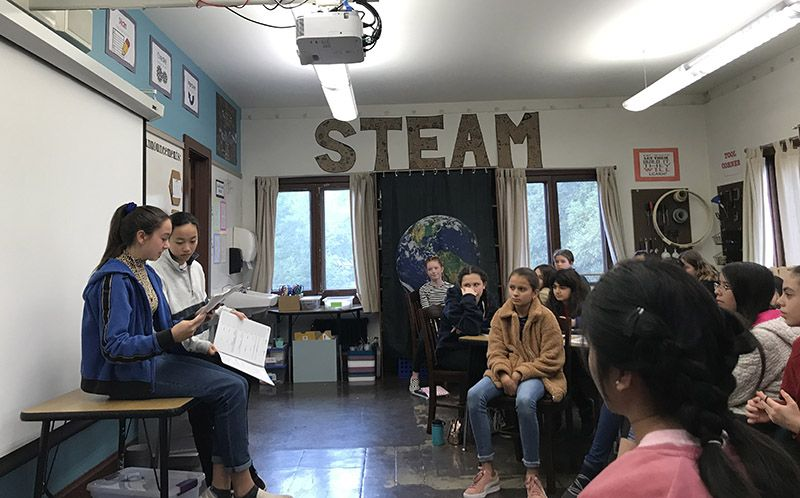In STARS (Skills to Achieve Real Success) classes, 8th graders led 6th graders in a discussion about managing time and assignments with their student planners.