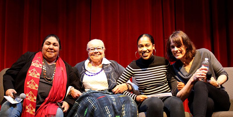 This year's guests (left to right):  Corrina Gould, Matriarch and Leader of the Ohlone Tribe, Activist; Daphne Muse, Writer and Civil Rights Activist; Gaby Battle, JMSG Alumna '15, Activist who spoke at the Oakland Women's March, 2018; Caroline Paul, Author of Gutsy Girl and You Are Mighty, one of the First Female SF Firefighters.