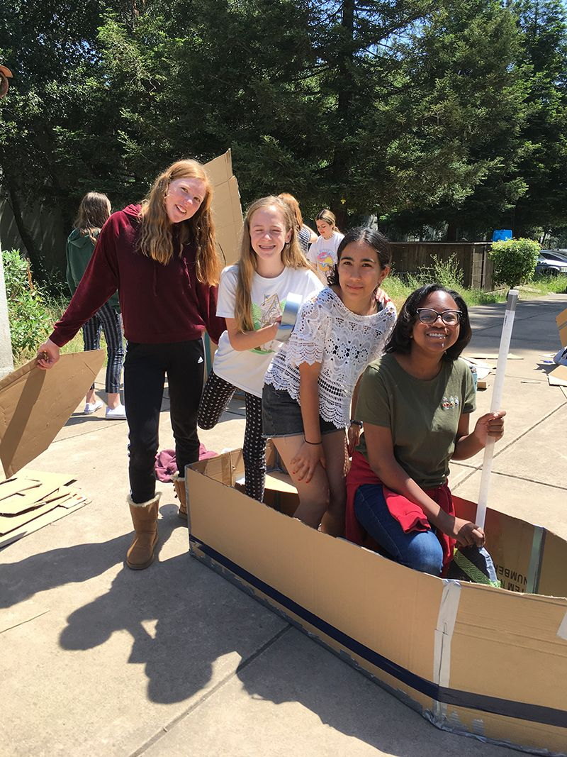 Seventh grade STEAM class cardboard boat challenge will test their boats next week.