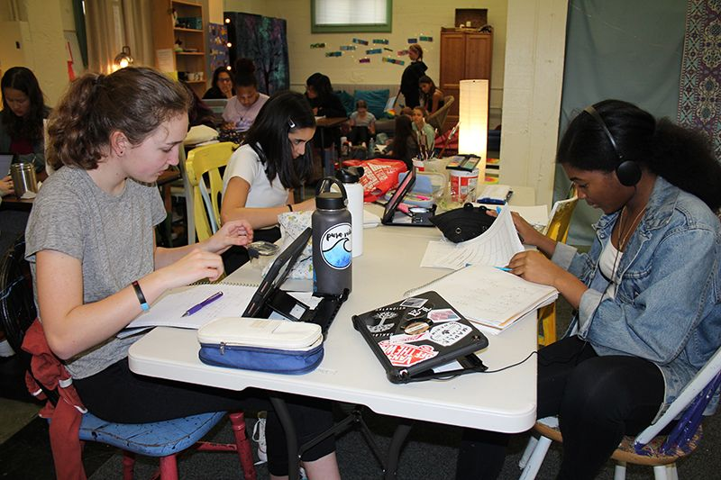 Students took advantage of lunch time Study Hall to work on homework and projects.