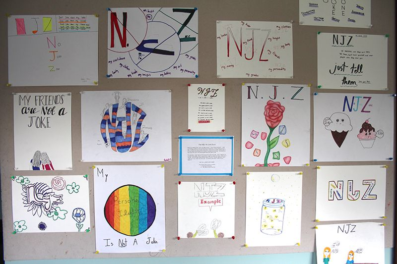 In 6th grade RISE class students created No Joke Zone posters to share what things they would not want to be made fun about.