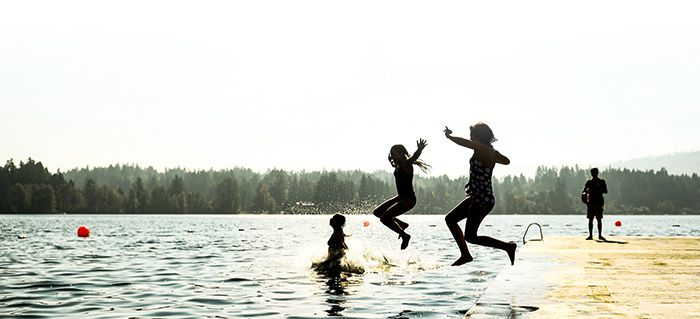 Students jumping off dock into Shawnigan Lake