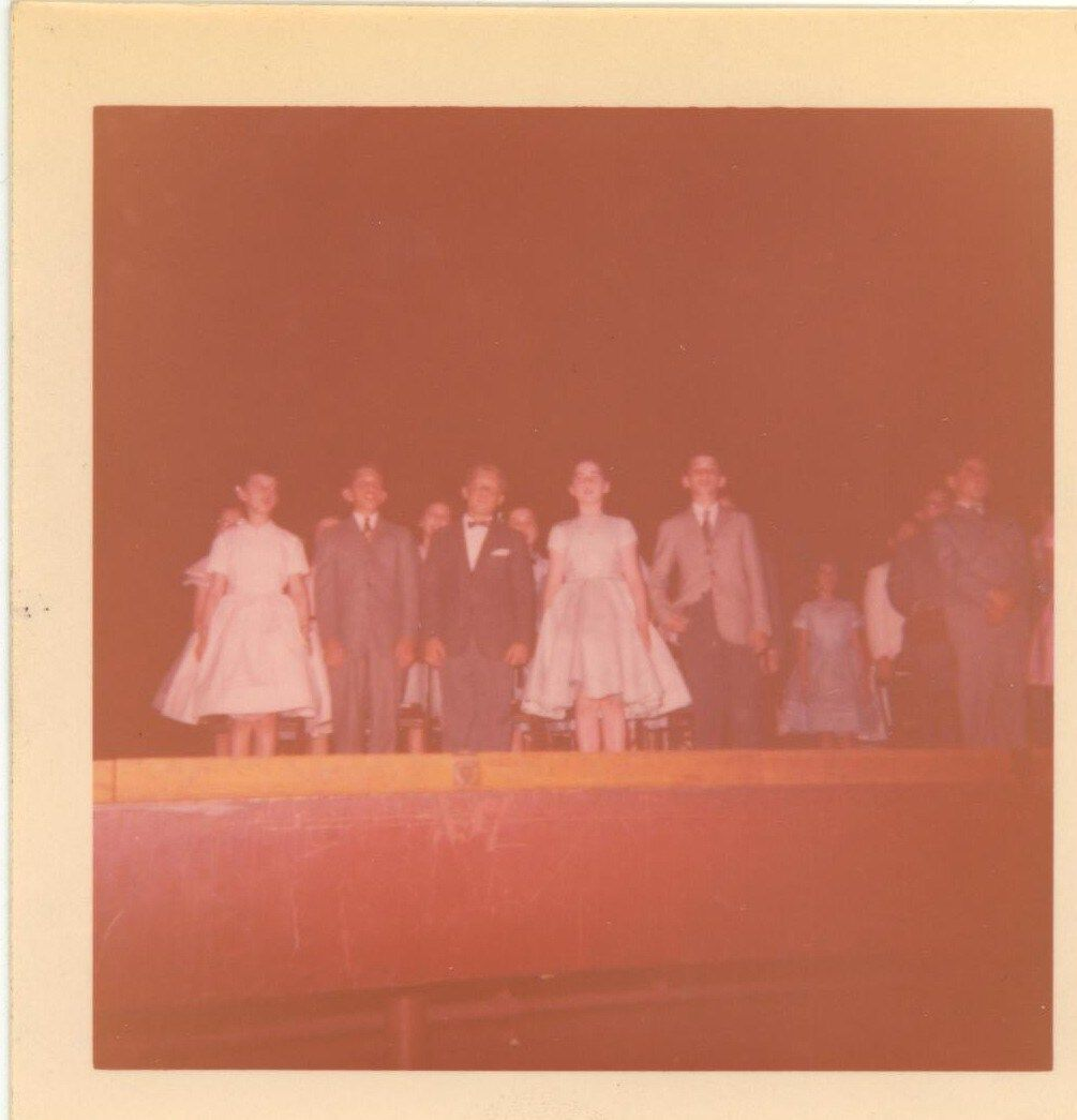 Barbara W., Andy Z., Roger K.,Nancy S., Merritt F. graduation 1957