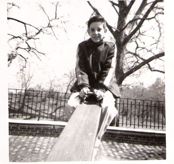 Charles Jacoby on seesaw taken by Joan Blair c. 1957