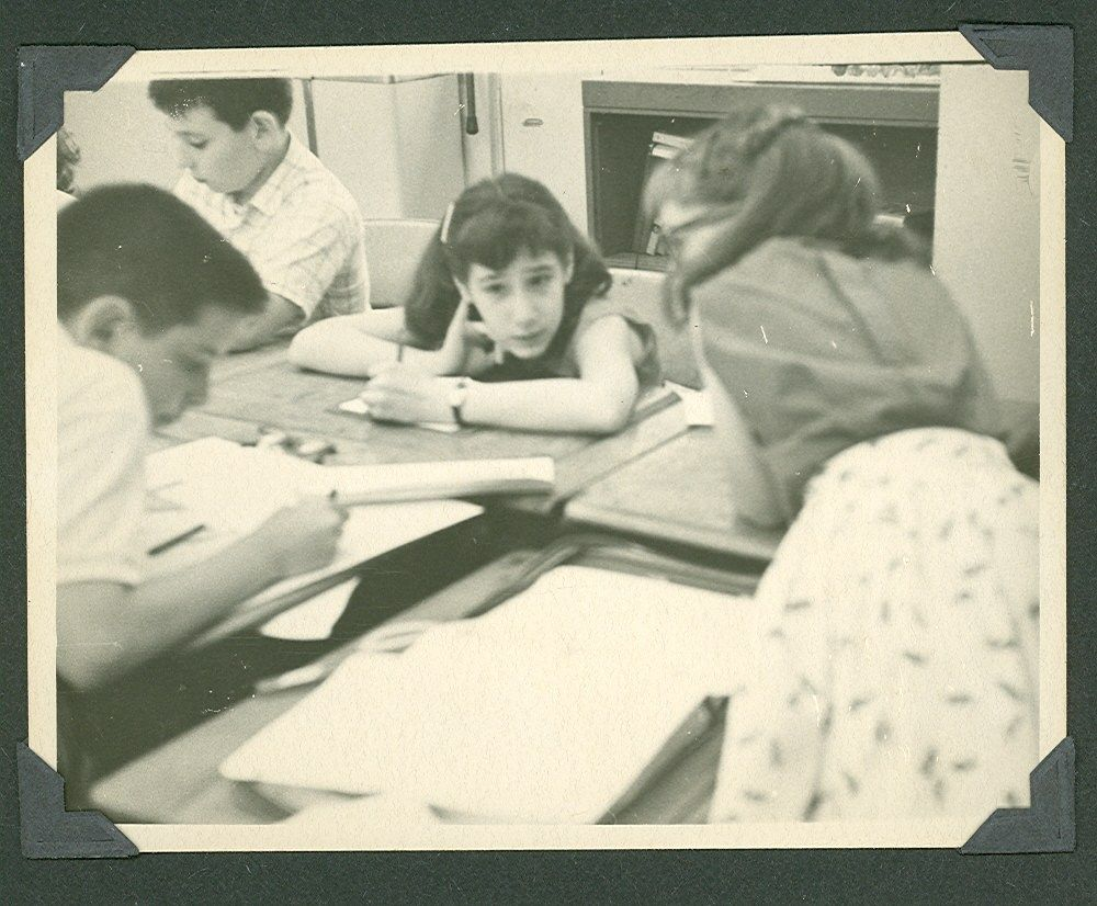 Charles J., Alan M., Liz G., Nancy R. in school c. 1955